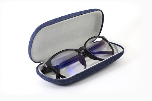 Black,Retro,Glasses,In,Opened,Blue,Jeans,Texture,Case,On
